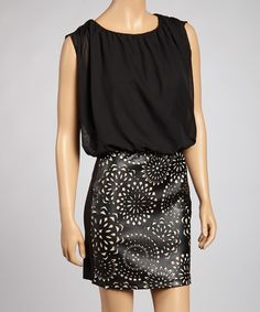 Take a look at this Black & Nude Floral Medallion Dress on zulily today!
