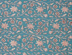 indian cotton fabric  blue floral fabric  1 yard  by pallavik, $9.50