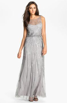 Aidan Mattox Illusion Yoke Sequin Mesh Gown available at #Nordstrom  SO classy - love this, but it's $420