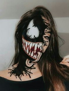Best Makeup Ideas for Halloween 2019 Halloween Venom Makeup 2019 Look! Simple Cat Makeup, Cool Makeup Looks, Creative Makeup, Scary Makeup, Eye Makeup Art, Helloween Make Up, Amazing Halloween Makeup, Costume Makeup, Doll Makeup