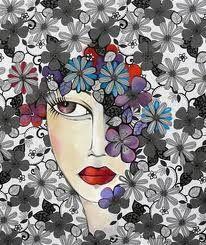 La caja de las sensaciones alegres: MUJERES Art Journal Pages, Pebble Painting, Arte Pop, Portrait Art, Portraits, Face Art, Art Tutorials, Textile Art, Silhouette