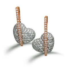 Heart Collection - These striking 18K white and rose earrings are comprised of 1.44ctw round white Diamonds. - TE167