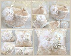 Anillo portador almohada canasta de niña de las flores