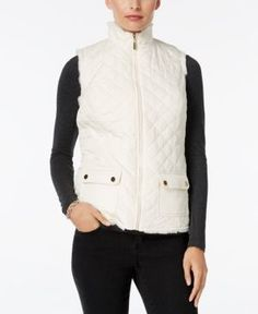 Charter Club Faux-Fur-Lined Puffer Vest, Only at Macy's - Tan/Beige XL