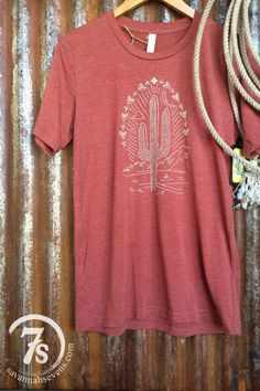 - Saguaro graphic t-shirt - Terracotta tri-blend with ivory graphic - Super soft lightweight - Unisex - Fits true to size - Shown styled with The Torreon poncho, The Durango denim shirt and Llano Neck