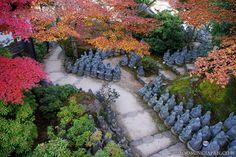 Rakan statues in Miyajima (Hiroshima Prefecture).
