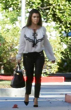 Kourtney Kardashian wearing Hermes Birkin Bag in Black