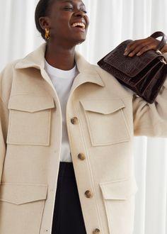Oversized Wool Blend Utility Jacket - Beige - Jackets - & Other Stories Fashion Story, Girl Fashion, Queen Fashion, Style Fashion, High Collar, Jacket Style, Utility Jacket, Shirt Jacket, Wool Blend