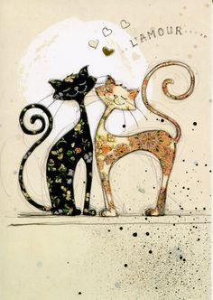 Two Lovecats - Bug Art greeting card - Cats - Chat Cat Cards, Greeting Cards, Bug Art, Photo Chat, Cat Drawing, Crazy Cats, Cool Cats, Cats And Kittens, Illustrations