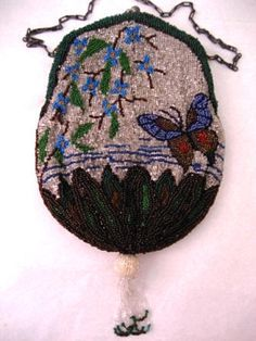 Vintage Butterfly Beaded Purse 1900 - 1920 Antique Handbag Give me more