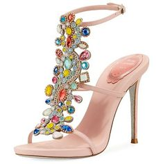 "Multi-Embellished 105mm Sandal by Rene Caovilla. Rene Caovilla calf leather sandal with multicolor crystal embellishments. 4.1"" covered stiletto heel. Strap bands open toe. Adjustable ankle strap. Leather lining. Signature glittered outsole. Made in Italy. #renecaovilla #nudeshoes #sandals"
