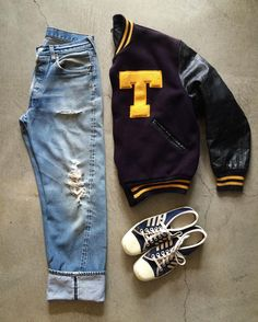 60's varsity jacket, size M, $62+$24 domestic shipping. Levi's 501 redlines, size 32/32, $135+$16 domestic shipping. 70's generic canvas shell toes, size 8, $54+$16 domestic shipping. Call 415-796-2398 to purchase or PayPal afterlifeboutique@gmail.com and reference item in post.