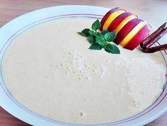 Őszibarack krémleves Evo, Panna Cotta, Pudding, Ethnic Recipes, Desserts, Foods, Tailgate Desserts, Food Food, Dulce De Leche