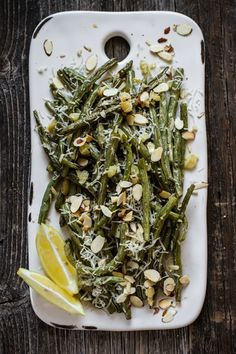 roasted garlic green beans with lemon and parmesan.