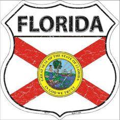 Florida State Flag Highway Shield Metal Sign