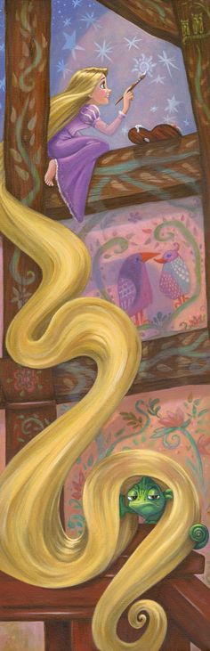 Rapunzel's Daydream - by Annick Biaudet<br>giclee on canvas
