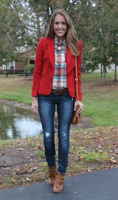 red blazer fall | red blazer + plaid