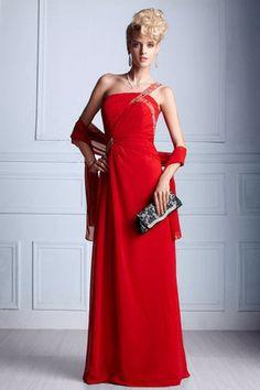 Elegant & Luxurious Apple Mid Back Chiffon Beading Red One Shoulder Sheath Sweep Train Evening Dress