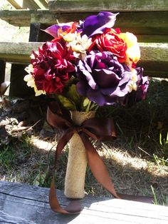Purple and Orange Wedding Bouquet