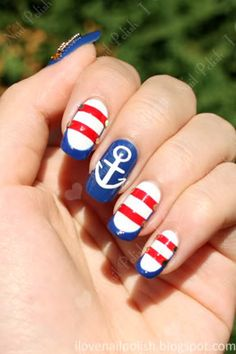 Nautical nails! I would totally do my nails like this! Maybe I should buy a boat so I'll have a reason to rock these nails :)