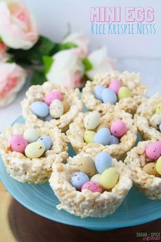 Easy no-bake Easter dessert for kids, these Mini Egg Rice Krispie Nests are quick and fun to make together  #marshmallowtreats #easterrecipe #kidsrecipe #minieggs