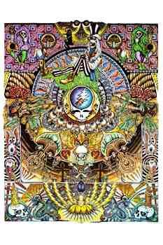 """Grateful Dead - Psychedelic Poster - $9.99  This Grateful Dead poster features a psychedelic mural by an unknown artist. The design has vivid colors and a psychedelic pattern with many hidden images. Pictured in the mural are classic Grateful Dead and Psychedelic images such as the Steal Your Face Logo, SYF, Skeletons, Roses, Skulls, Mushrooms, etc. It measures approximately 24"""" x 36""""."""