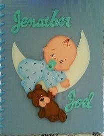 carpetas y cuadernos forrados en foami !! muy originales Baby Stork, Baby Shawer, Handmade Sheet, Moldes Para Baby Shower, Foto Frame, Paper Punch Art, Baby Boy Scrapbook, Free Adult Coloring Pages, Diy Notebook