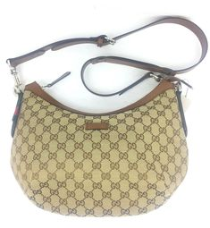 b34eb5efbbaf Authentic New ($1290) Gucci GG Canvas and Leather Shoulder Bag, #353399 NWT