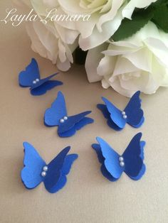 20 Royal Blue 3d Butterfly Wedding Confetti Table Decoration Card Toppers