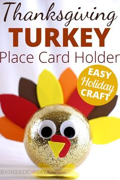 Thanksgiving Turkey Place Card  Holder Decoration - This would be a great turkey activity to make with upper elementary students at school during the month of November.