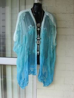 20OFF..Stunning Sheer Aqua Ombre DipDyed Lace PURE by GlamourZoya, $169.00