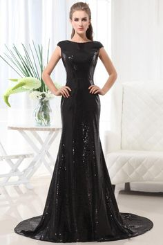 2013 Prom Dresses Mermaid/Trumpet Floor Length Sweep/Brush Train Black Bateau