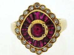 Ladies Antique 18ct Yellow Gold Ruby & Diamond Dress Ring | Gordon House Jewellers