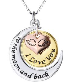 """I LOVE YOU TO THE MOON AND BACK NECKLACE 20/"""" STERLING SILVER PLATED CHAIN"""