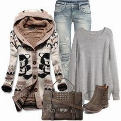 Cute Norwegian Sweater and winter outfits | Fashion World, I'd change the jeans/pants to jean skirt maxi same color jeans.