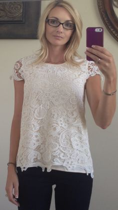 ROSELIN CROCHET OVERLAY SHORT SLEEVE BLOUSE. August fix.  Very classy. Could be dressed up or down. Item kept.
