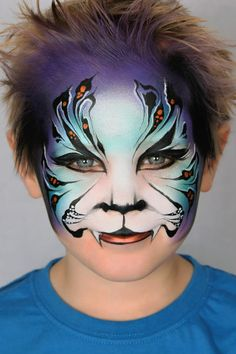 Jenny Saunders Pixies face painting Tiger face paint Really good blending of back ground colors Face Painting For Boys, Face Painting Designs, Animal Face Paintings, Animal Faces, Chat Halloween, Halloween Face, Tiger Face Paints, Boy Face, Kids Makeup