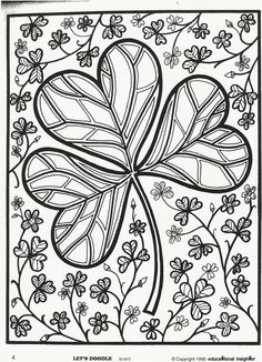 St. Patrick's Day Shamrock Coloring Page. Free Educational Insights printable from Let's Doodle book.