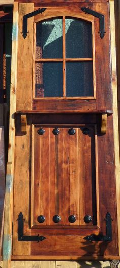 RUSTIC SOLID wood DUTCH DOOR  shelf reclaimed lumber wrought iron tempered glass