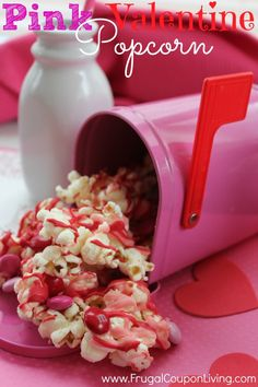 Pink Candy Valentine Popcorn – February Kids Snack and Treat #valentinesday #popcornrecipe