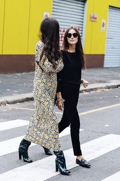 Left, a floral dress is paired with patent leather boots. Right, a black sweater is worn with cropped pants, a gold bracelet, Gucci loafers