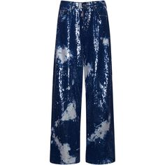 Dsquared2     Maculato Wash Jazz Jean ($9,445) ❤ liked on Polyvore featuring jeans, blue, dsquared2 jeans, dsquared2, sequin jeans, wide leg blue jeans and wide leg jeans