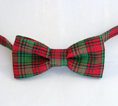 Boys Bow Tie  Christmas Tiny Dark Red and Green by becauseimme