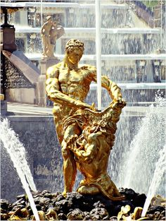 Neptune's fountain at the Peterhof Palace. Russia.