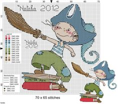 Criança Pirata Cross Stitch For Kids, Cute Cross Stitch, Cross Stitch Kits, Cross Stitch Charts, Cross Stitch Designs, Cross Stitch Patterns, Cross Stitching, Cross Stitch Embroidery, Stitch Doll