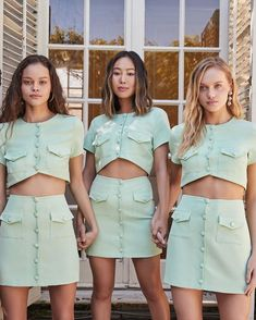 New @songofstyle Gala set is dropping tomorrow. She was so popular and sold out immediately when we launched it so we made her in a fresh… Aimee Song, Complete Outfits, Denim Skirt, Short Dresses, Mini Skirts, Product Launch, Popular, Casual, Fashion Trends