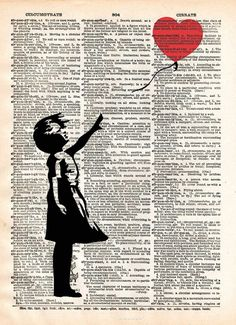Banksy girl with Balloon. Print of acclaimed street artist Banksy, thought provoking and powerful. These unique and original artwork are printed on authentic vi