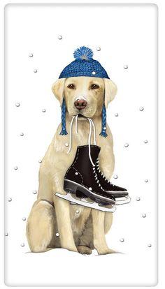 Winter Ice Skating Yellow Labrador Retriever Dog 100% Cotton Flour Sack Dish Towel Tea Towel