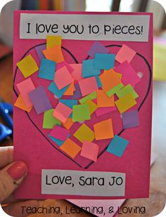 Teaching, Learning, & Loving: I love you to pieces! Teaching, Learning, & Loving: I love you to pieces! Toddler Valentine Crafts, Kinder Valentines, Valentine Activities, Valentines For Kids, Valentines Day Party, Toddler Crafts, Preschool Crafts, Valentine Ideas, Printable Valentine