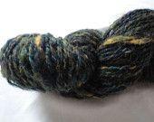 Handspun yarn, Double ply, Blue/ green/ yellow, 150 yards